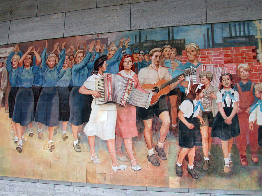 Communist-era mural at the former Ministry of Education, Berlin, Germany