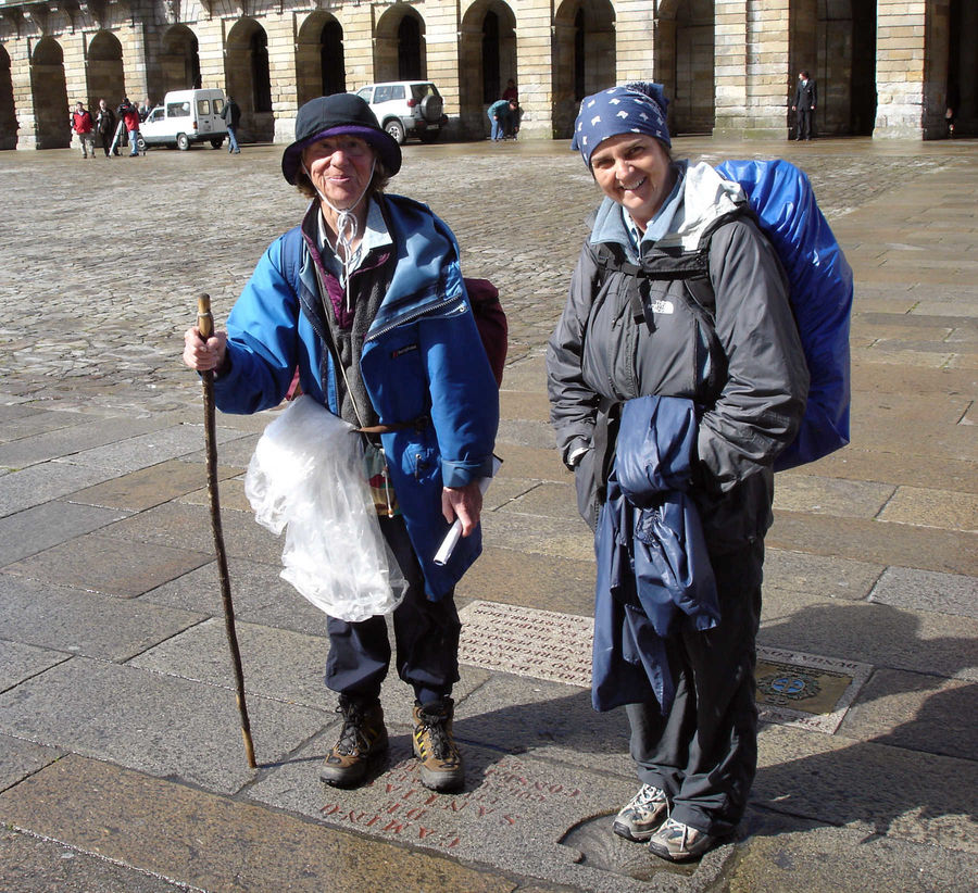 Camino pilgrims, Santiago de Compostela, Spain