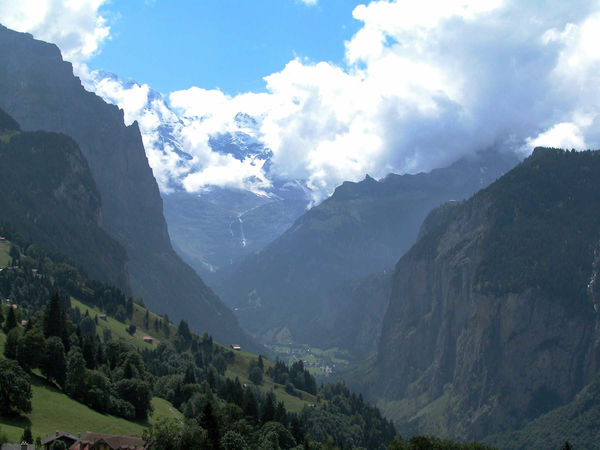 Lauterbrunnen Valley as seen from Wengen, Switzerland