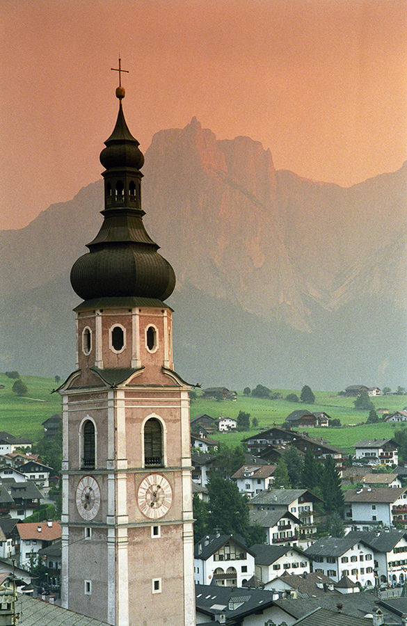 Church tower in Castelrotto / Kastelruth, Italy