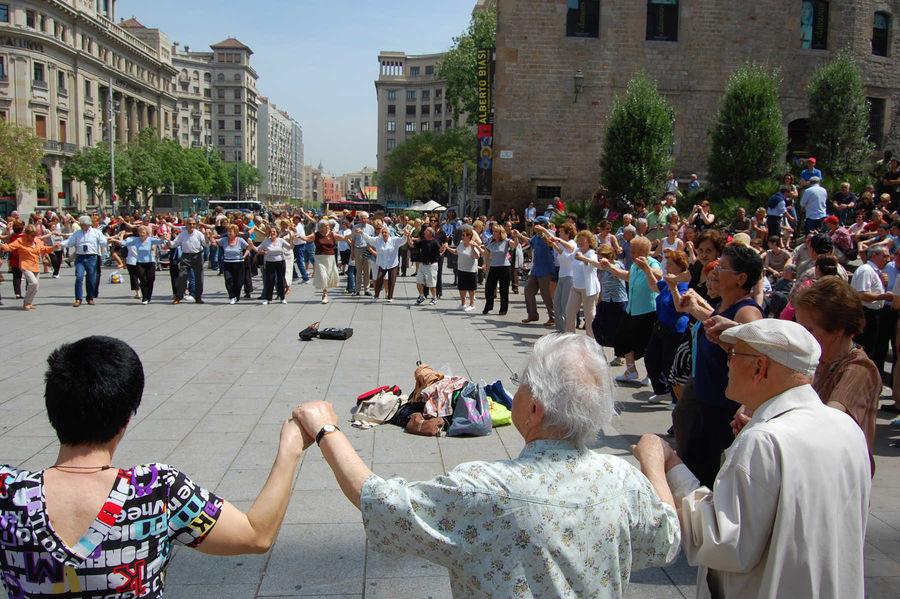 Sardana dancers, Barcelona, Spain