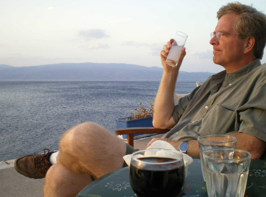 Rick enjoying ouzo and the sunset, Hydra, Greece
