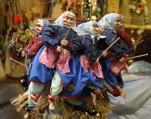 La Befana (Christmas witch) dolls, Rome, Italy