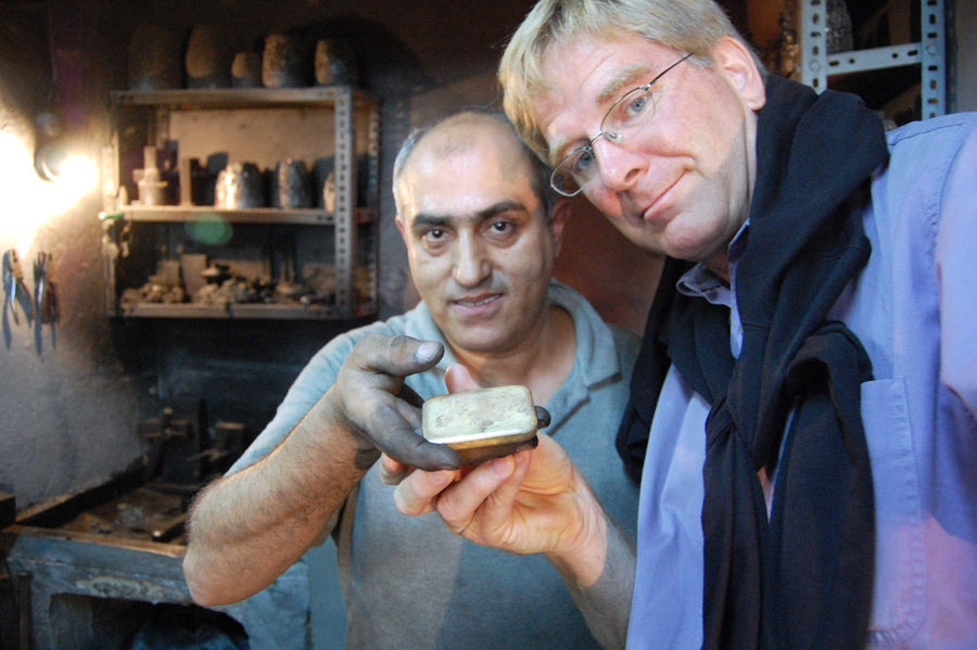 Rick with goldsmith, Grand Bazaar, Istanbul, Turkey
