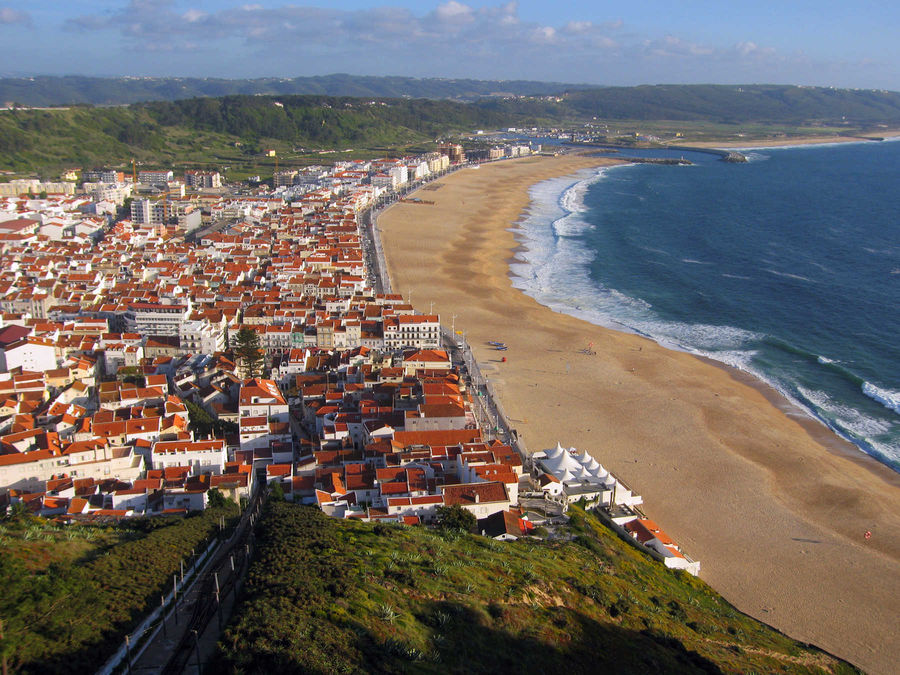 Nazaré and its beach, as seen from Sítio, Portugal