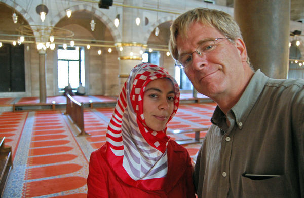 Rick and local friend in the Blue Mosque, Istanbul, Turkey