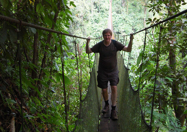 Rick on Rope Bridge, Costa Rica
