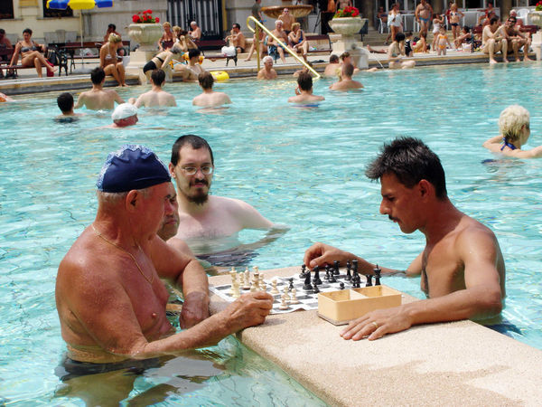 Chess players, Széchenyi Baths, Budapest, Hungary
