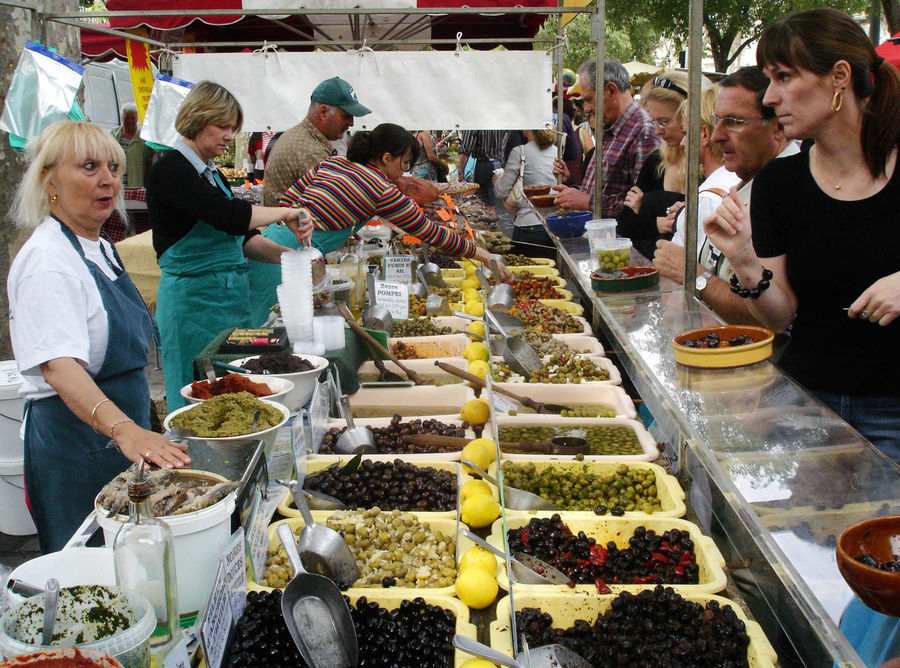 Olive stand at the market, Arles, France