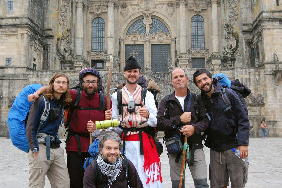 Camino pilgrims in front of the cathedral, Santiago de Compostela, Spain