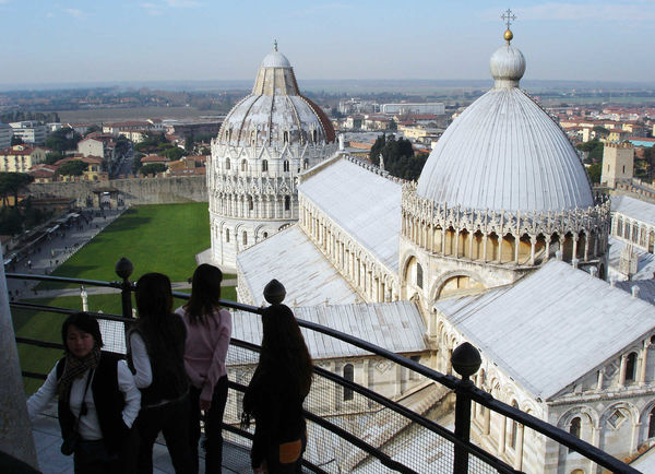 Duomo, Baptistery, and Field of Miracles as seen from Leaning Tower, Pisa, Italy