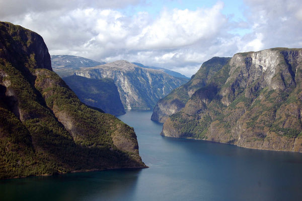 Sognefjord as seen from Stegastein viewpoint, near Flåm, Norway