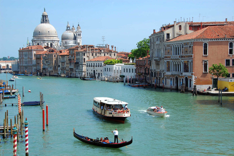 Gondola, vaporetto, and water taxi on Grand Canal, Venice, Italy