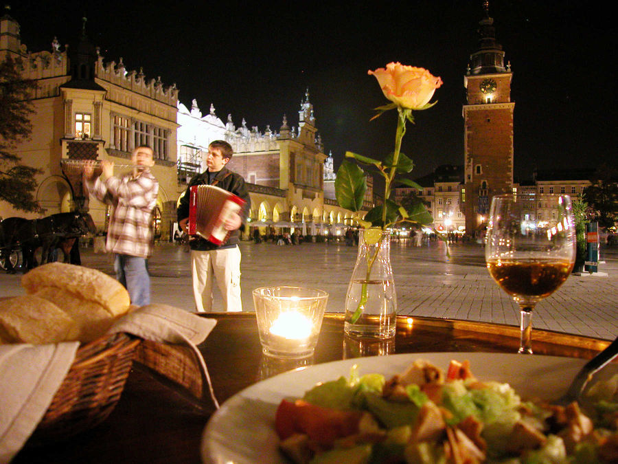 Dinner on Main Market Square, Kraków, Poland