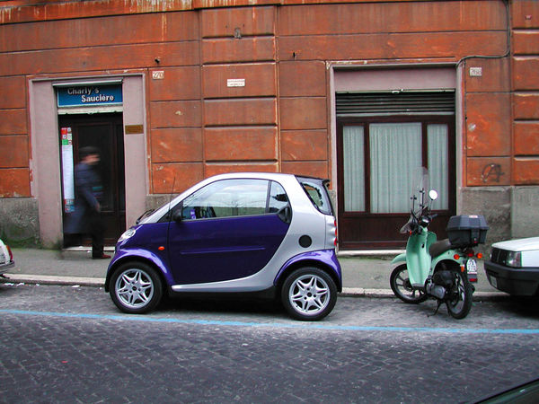 Smart car and moped, Paris, France