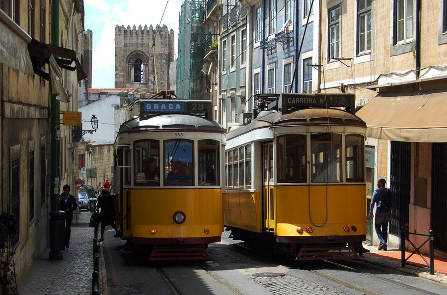 Trolleys in Bairro Alto neighborhood, Lisbon, Portugal