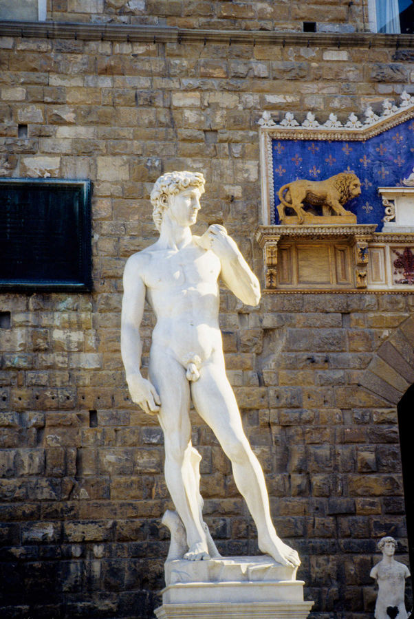 'David' copy in front of Palazzo Vecchio, Florence, Italy