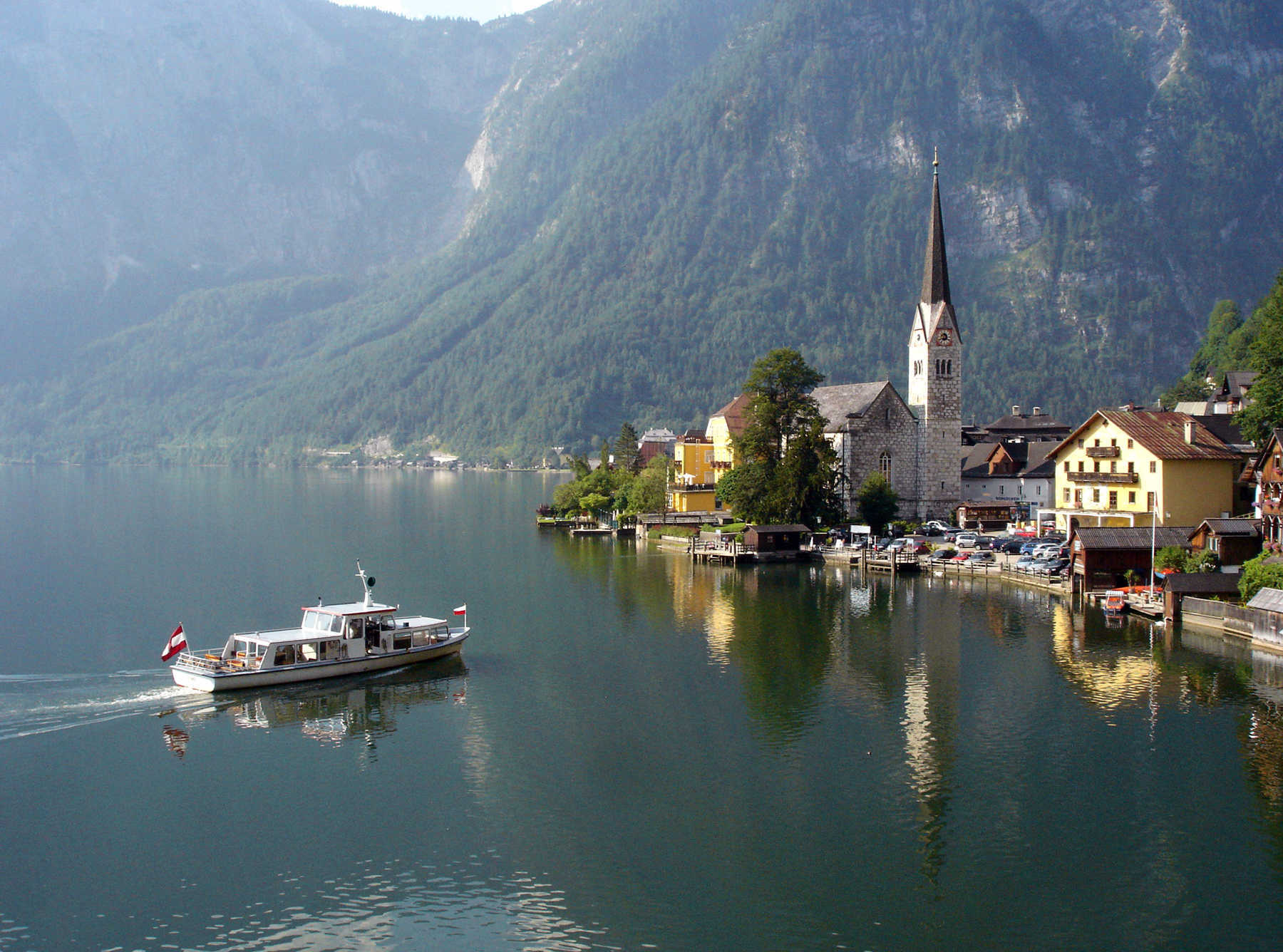 Boat on Lake in Hallstatt, Austria