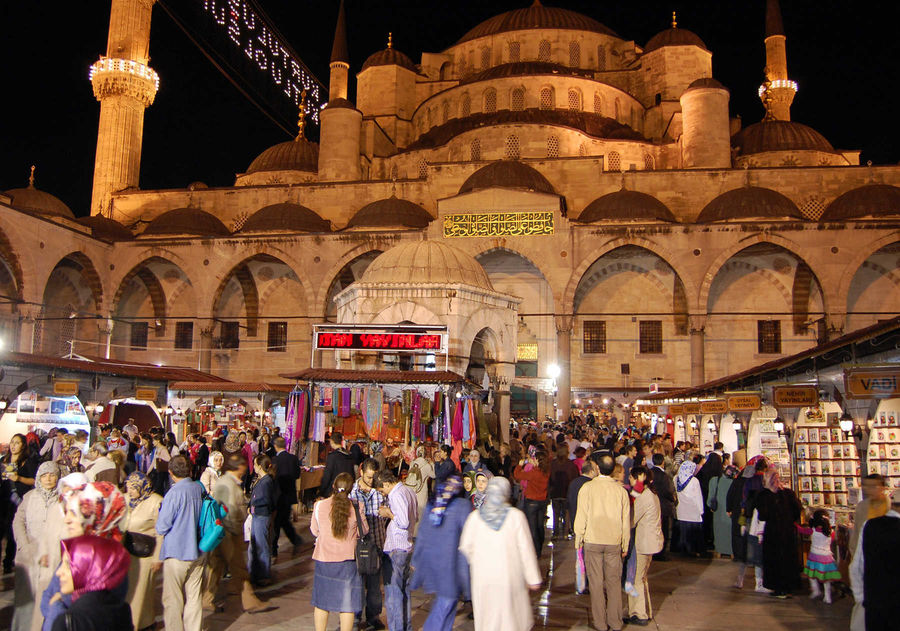 Ramadan night market at the Blue Mosque, Istanbul, Turkey