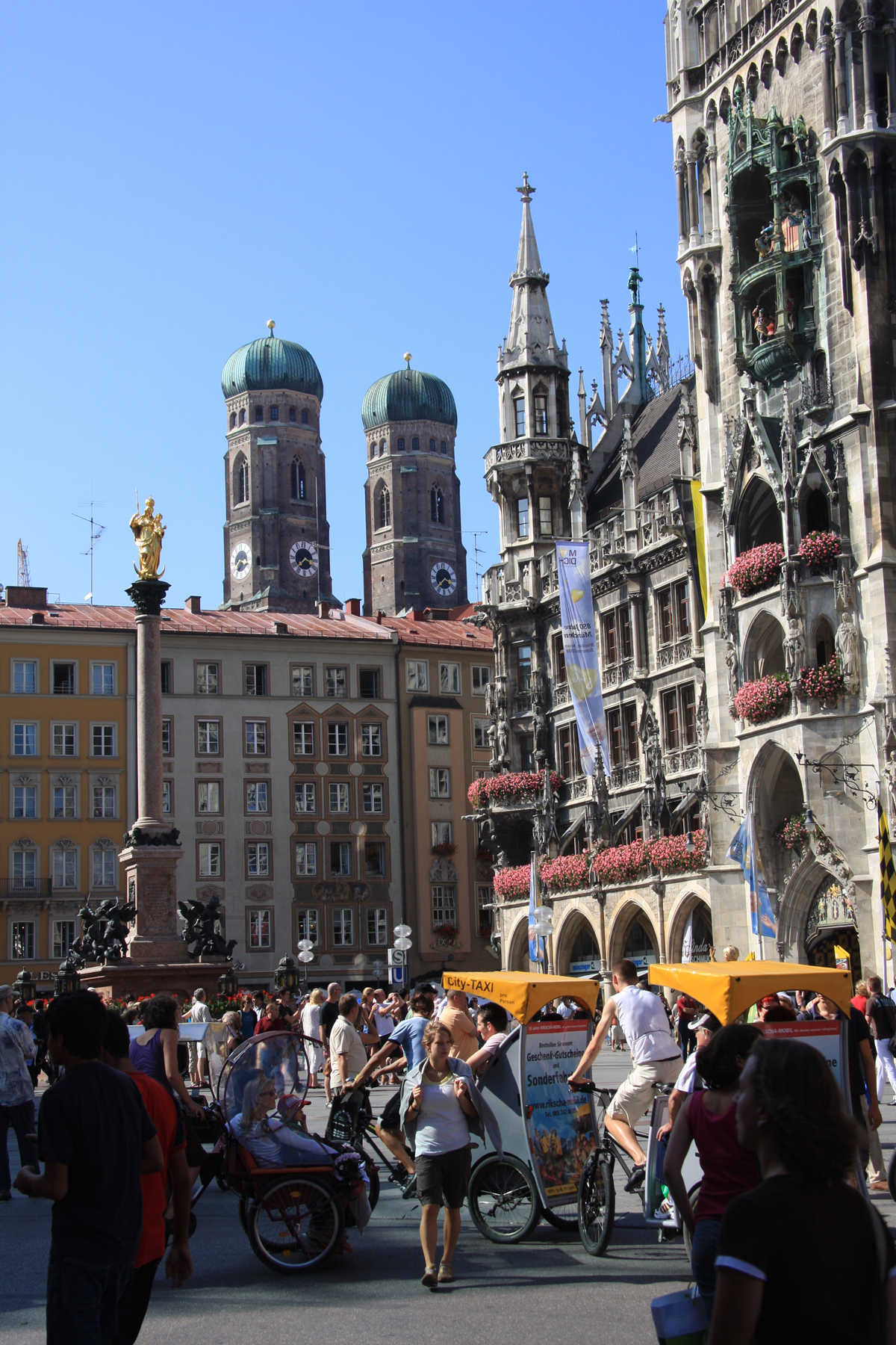 Pedal Taxis in Marienplatz, Munich, Bavaria, Germany