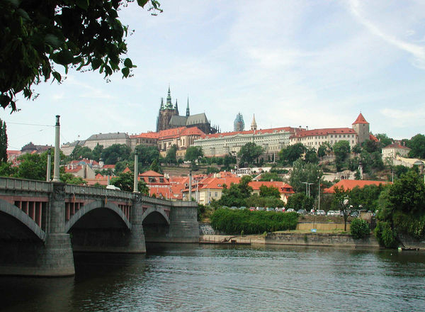 Castle Hill and Mánesův Bridge, Prague, Czech Republic