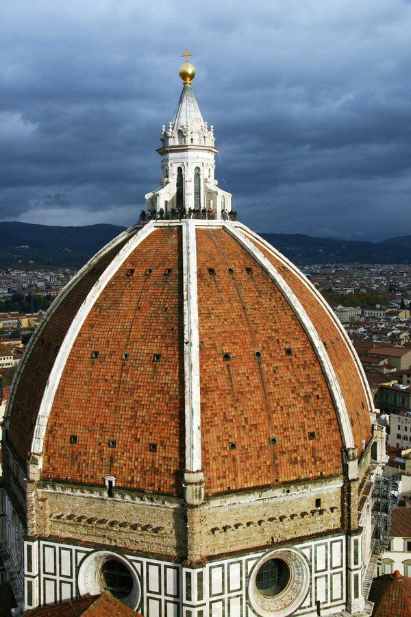 Visitors atop Duomo dome, Florence, Italy