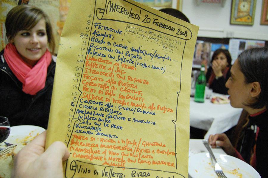 Handwritten restaurant menu, Rome, Italy
