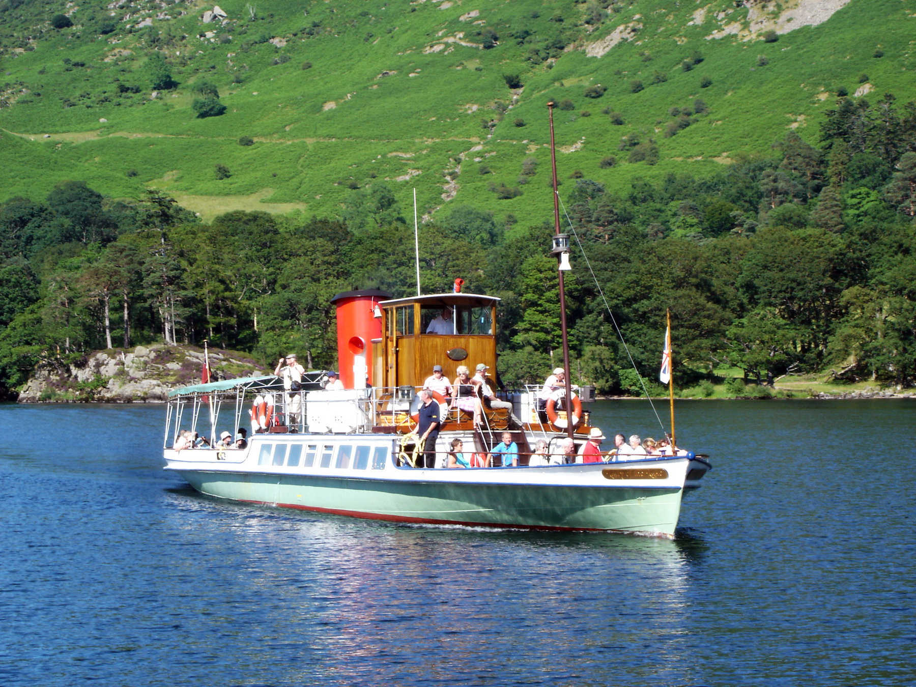 Boat on Lake Ullswater, Keswick, Lake District, England