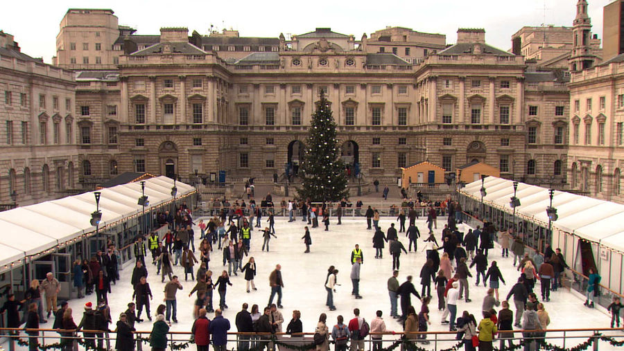 Ice skating at Somerset House, London, England
