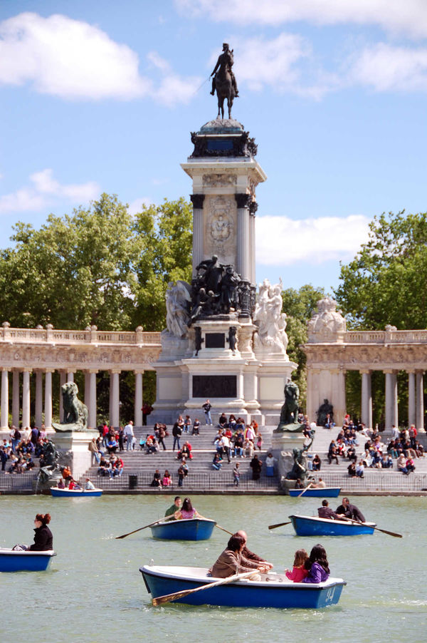 Boating in Retiro Park, Madrid, Spain