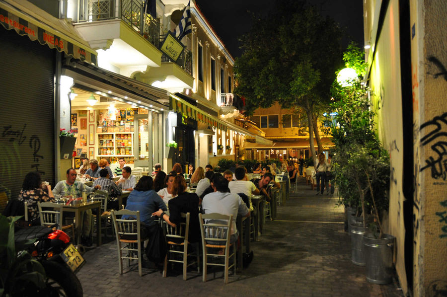 Café in Psyrri district, Athens, Greece