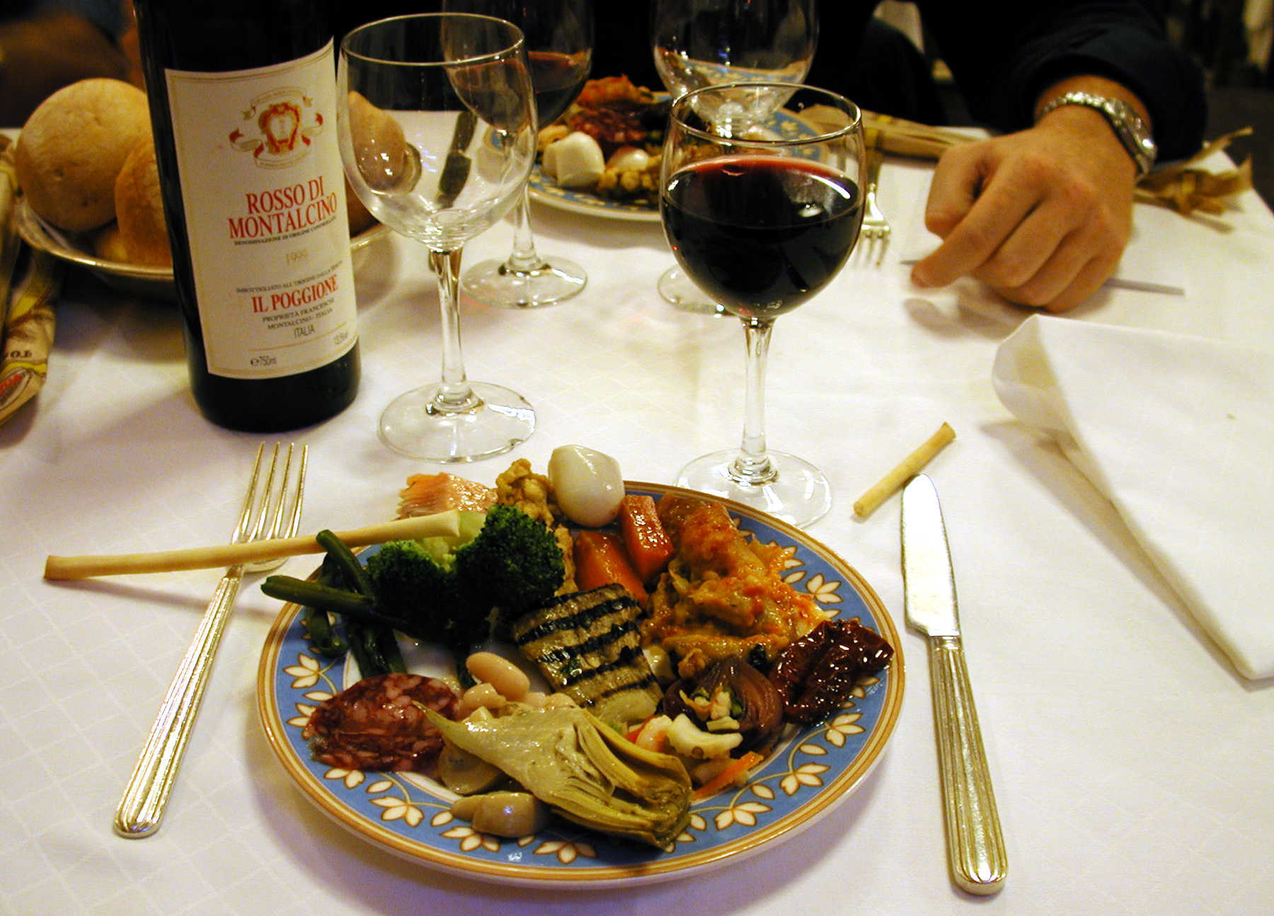 Meal with Wine, Milan, Italy