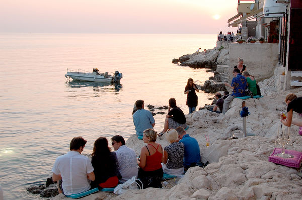 Waterfront bars at sunset, Rovinj, Croatia