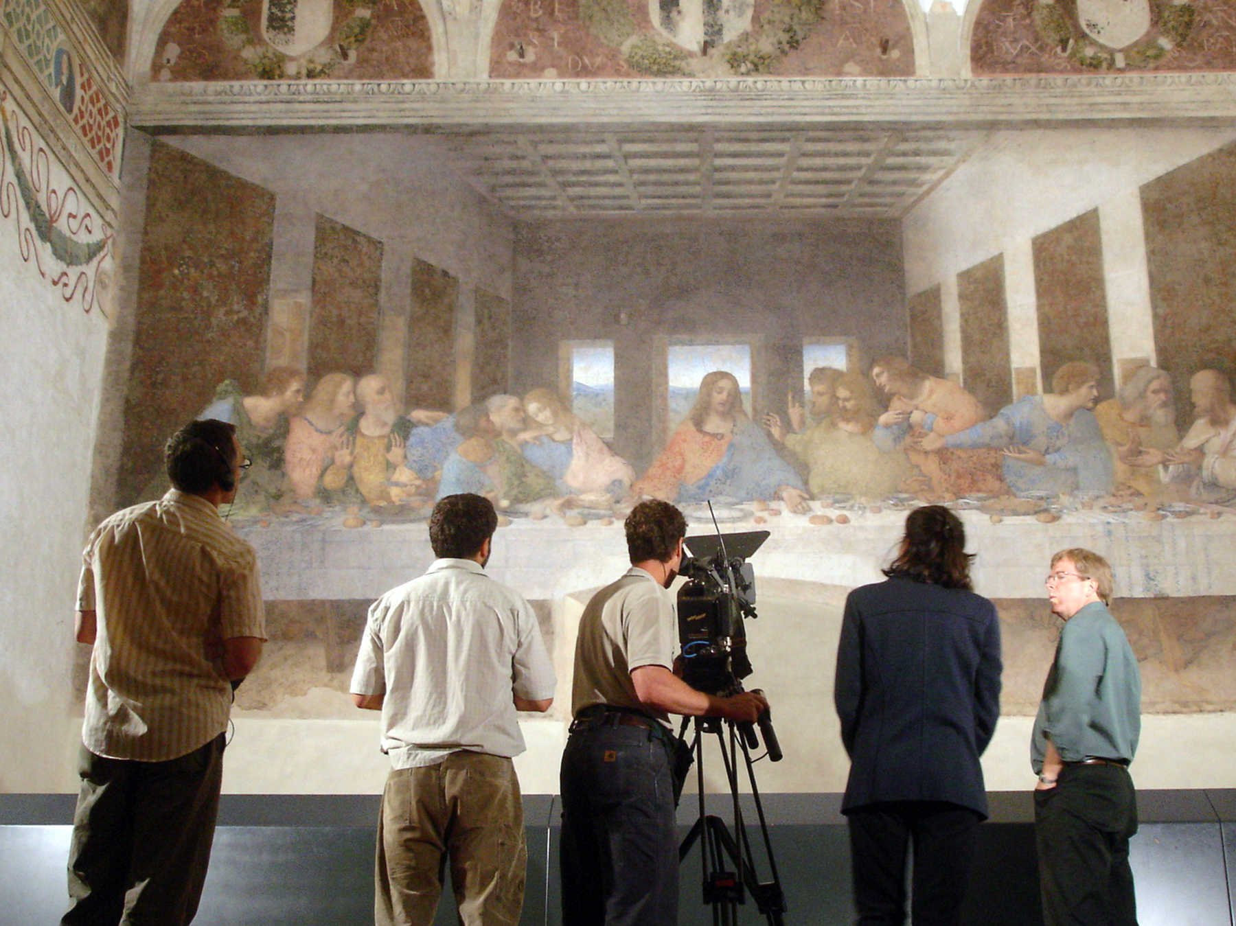 TV Crew with Leonardo's Last Supper, Milan, Italy