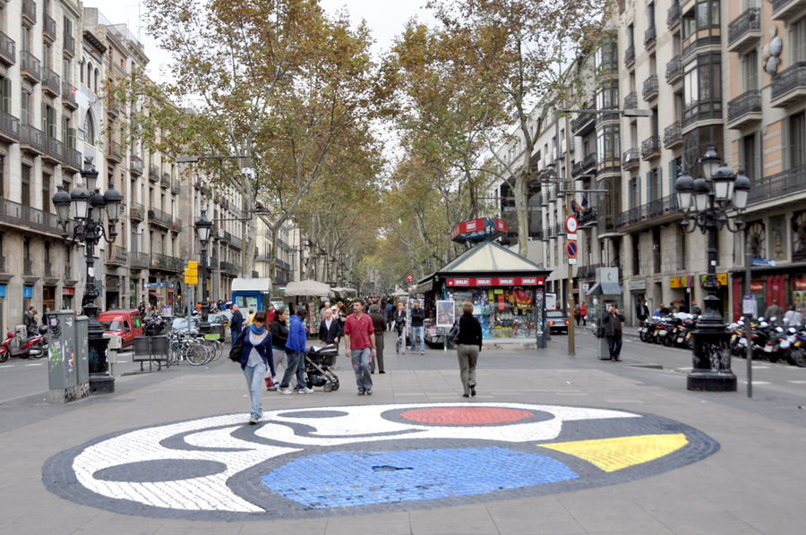 Joan Miró street mosaic on the Ramblas, Barcelona, Spain
