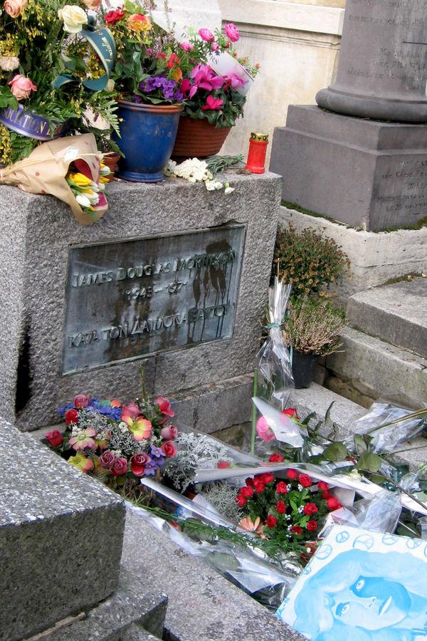 Jim Morrison's grave, Père Lachaise Cemetery, Paris, France