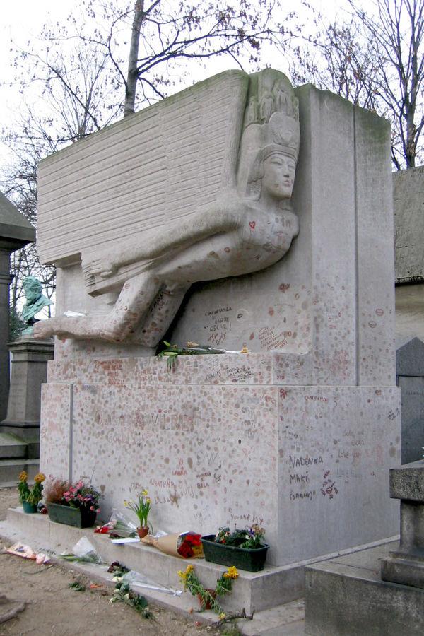 Oscar Wilde's grave, Père Lachaise Cemetery, Paris, France