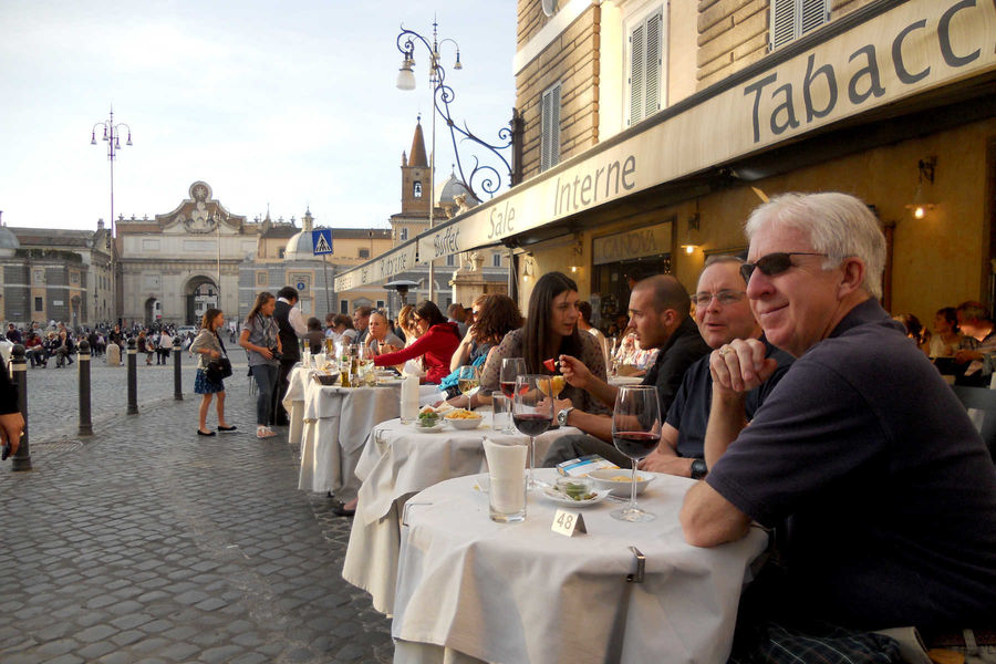 Outdoor dining on Piazza del Popolo, Rome, Italy