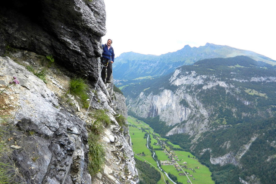 Overlooking the Lauterbrunnen Valley from the Via Ferrata trail, Mürren, Switzerland