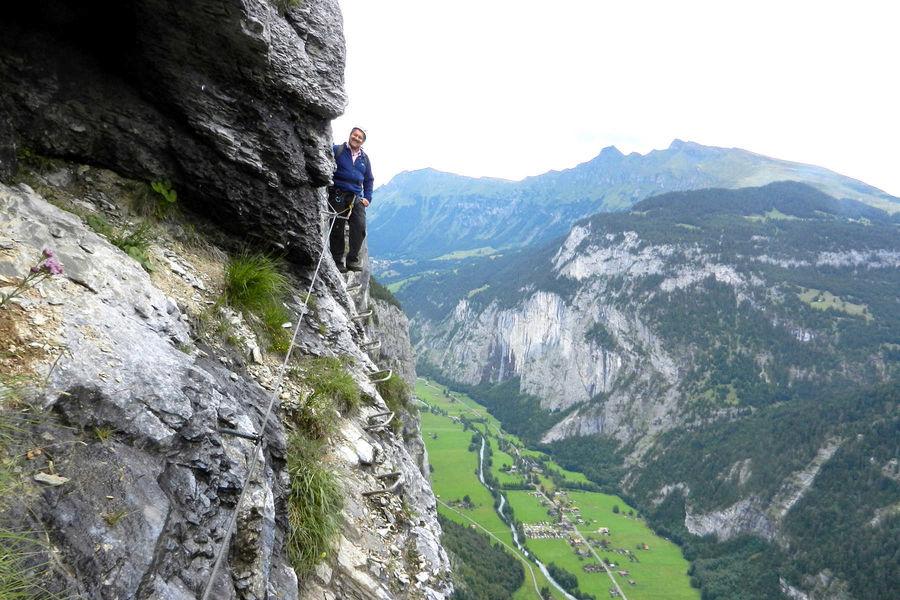 Overlooking the Lauterbrunnen Valley from the Via Ferrata trail, Mürren, Switzerland