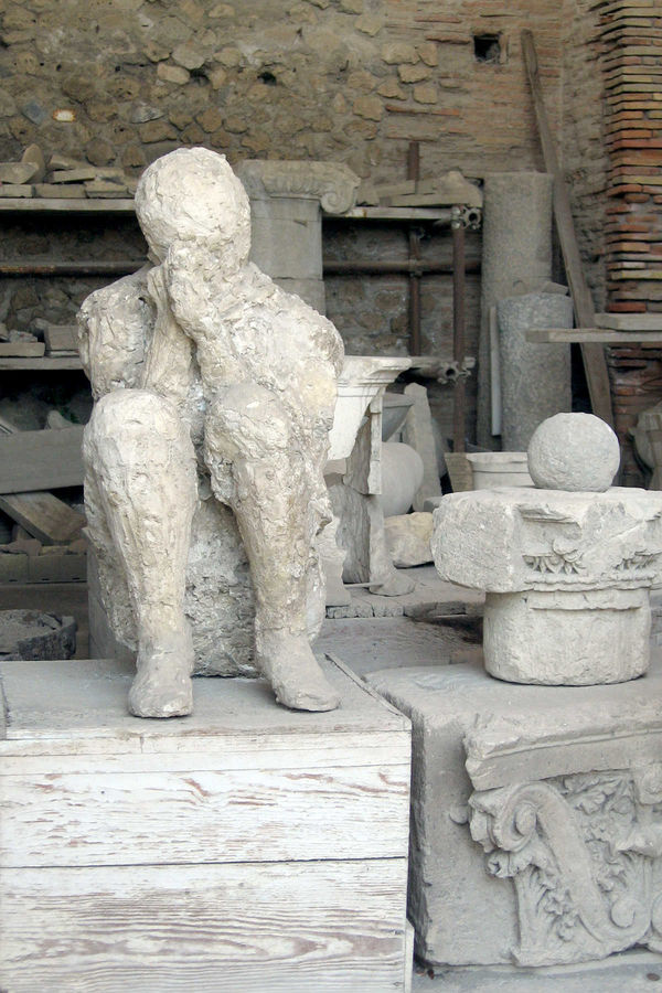 Cast of Vesuvius victim, Pompeii, Italy