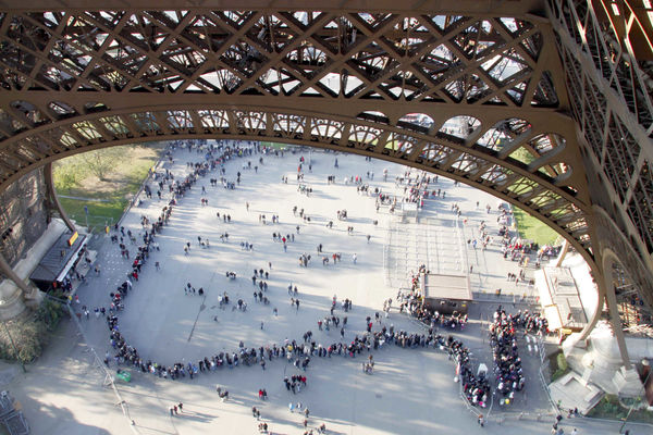 Ticket line, Eiffel Tower, Paris, France