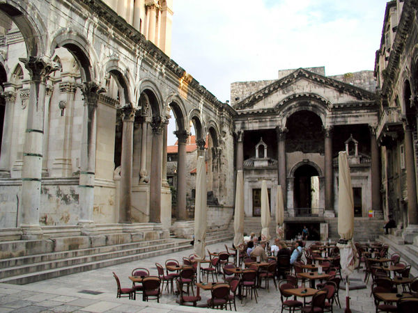 Cafés in peristyle of Diocletian's Palace, Split, Croatia