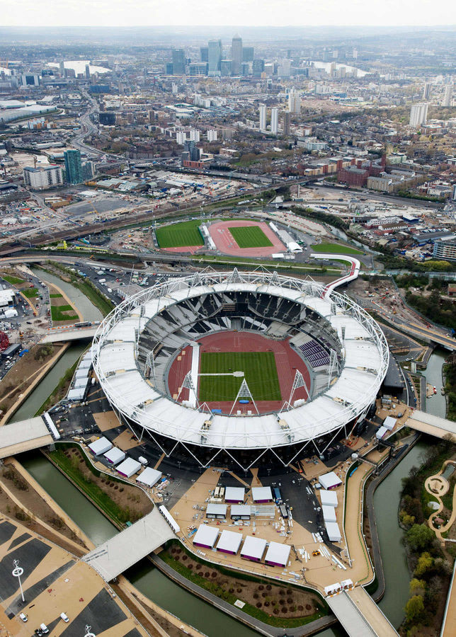 London Stadium, with the Docklands in background, London, England