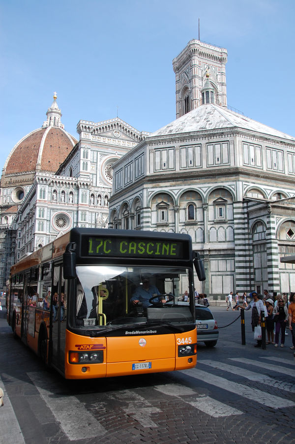 City bus, Baptistery, and Duomo, Florence, Italy