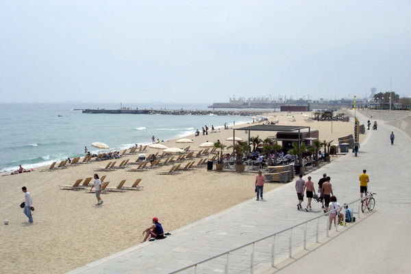 Barceloneta beach and promenade, Barcelona, Spain