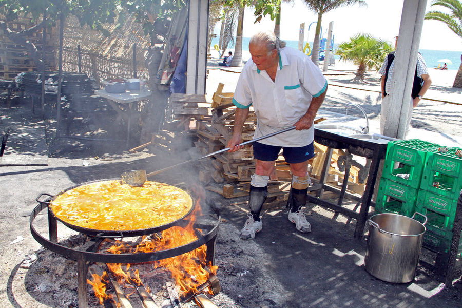 Making paella, Nerja, Spain