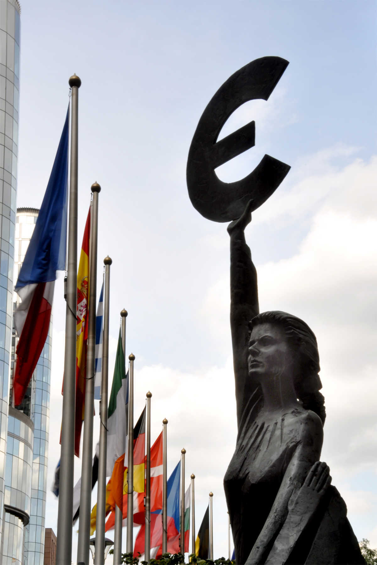 Euro Statue and Flags, European Parliament, Brussels, Belgium