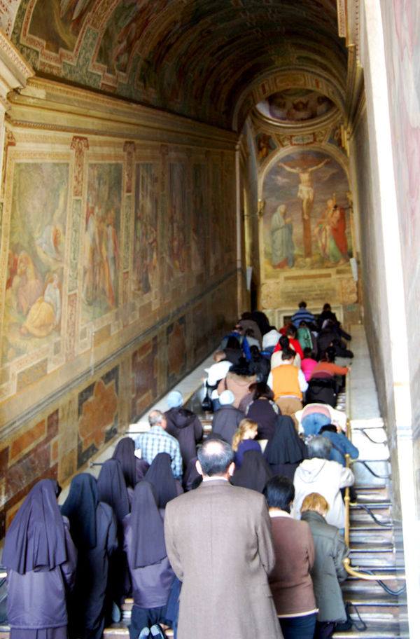 Pilgrims at Scala Santa, Rome, Italy