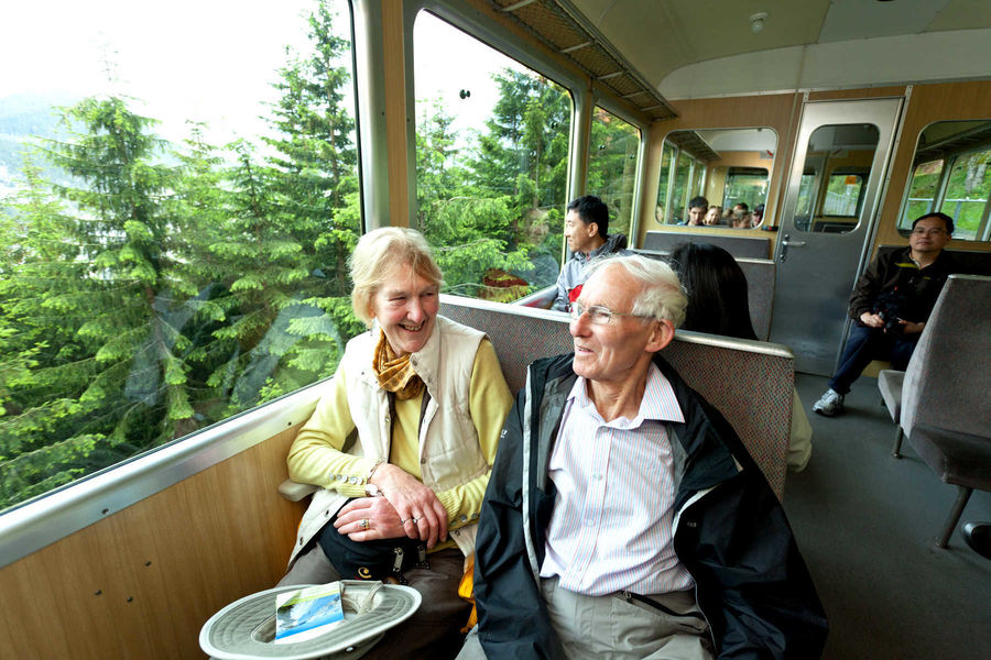 On the Lauterbrunnen–Wengen train, Berner Oberland, Switzerland